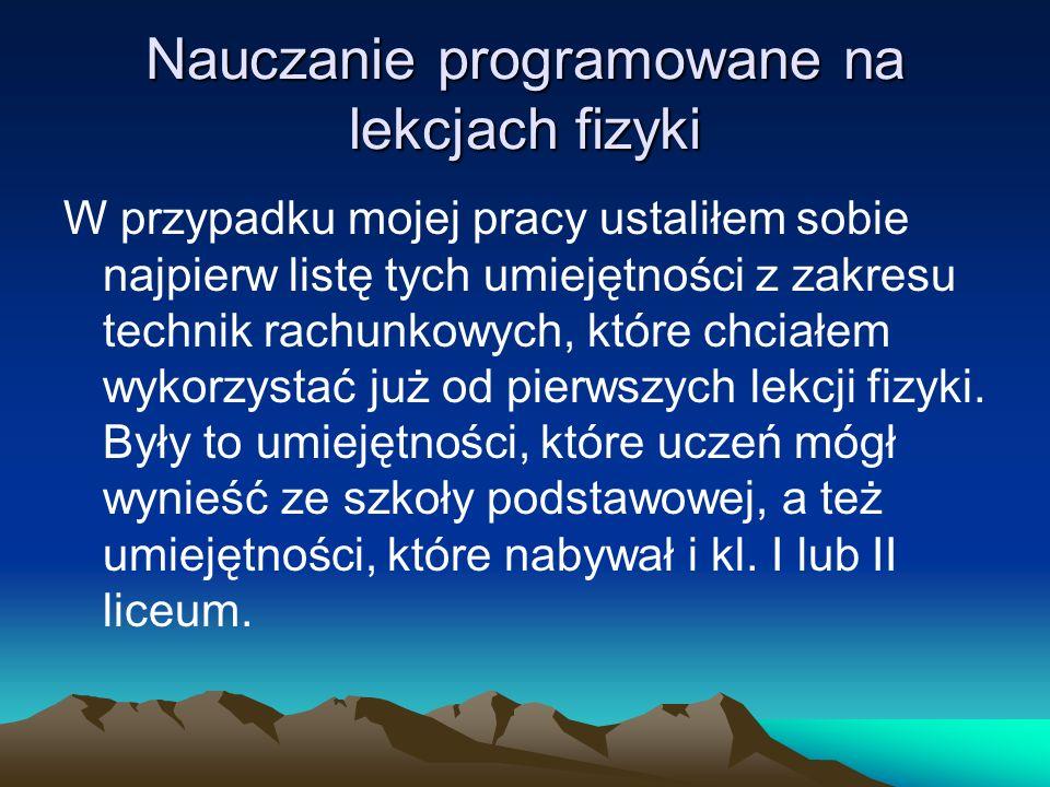 Nauczanie programowane na lekcjach fizyki 2.