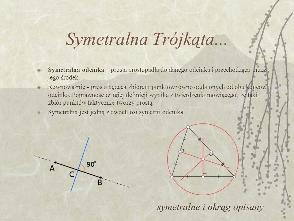 Symetralna Trójkąta... Symetralna odcinka – prosta prostopadła do danego odcinka i przechodząca przez jego środek. Równoważnie - prosta będąca zbiorem
