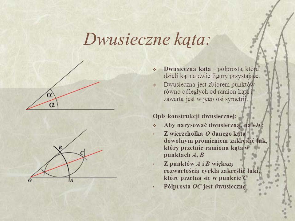 Dwusieczne kąta: Dwusieczna kąta – półprosta, która dzieli kąt na dwie figury przystające. Dwusieczna jest zbiorem punktów równo odległych od ramion k