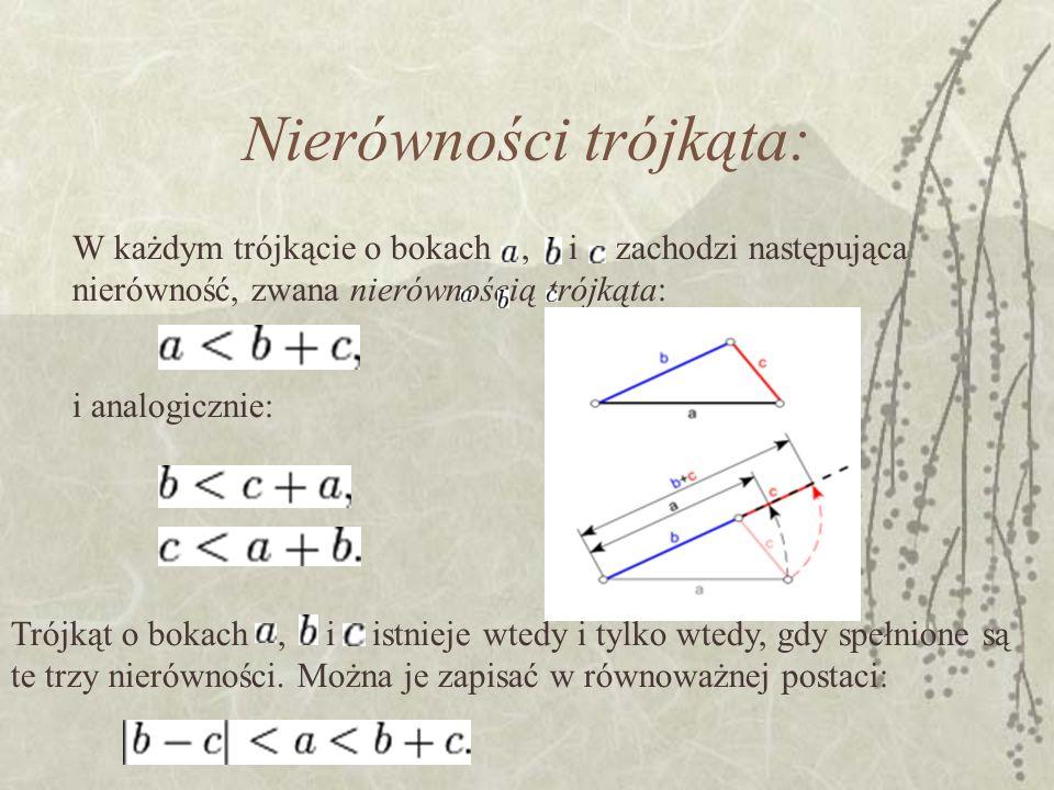 Nierówności trójkąta: W każdym trójkącie o bokach, i zachodzi następująca nierówność, zwana nierównością trójkąta: i analogicznie: Trójkąt o bokach, i