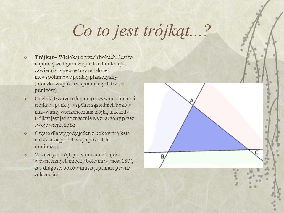 Co to jest trójkąt...? Trójkąt – Wielokąt o trzech bokach. Jest to najmniejsza figura wypukła i domknięta, zawierająca pewne trzy ustalone i niewspółl