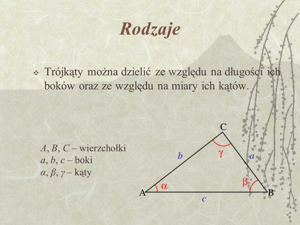 Rodzaje Trójkąty można dzielić ze względu na długości ich boków oraz ze względu na miary ich kątów. A, B, C – wierzchołki a, b, c – boki α, β, γ – kąt