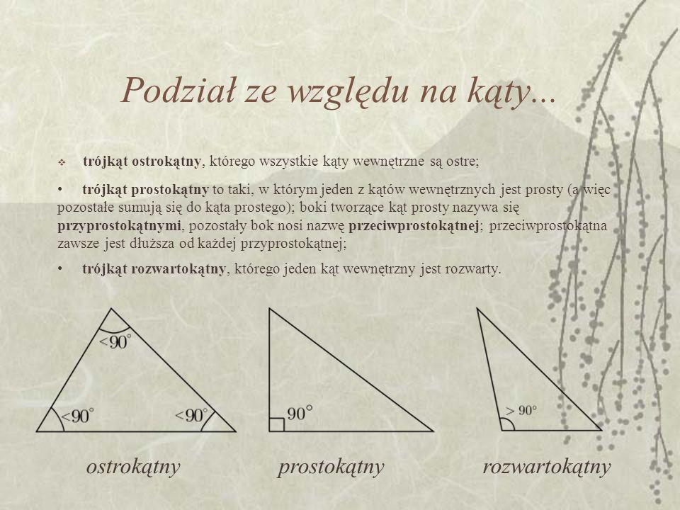 Podział ze względu na kąty... trójkąt ostrokątny, którego wszystkie kąty wewnętrzne są ostre; trójkąt prostokątny to taki, w którym jeden z kątów wewn