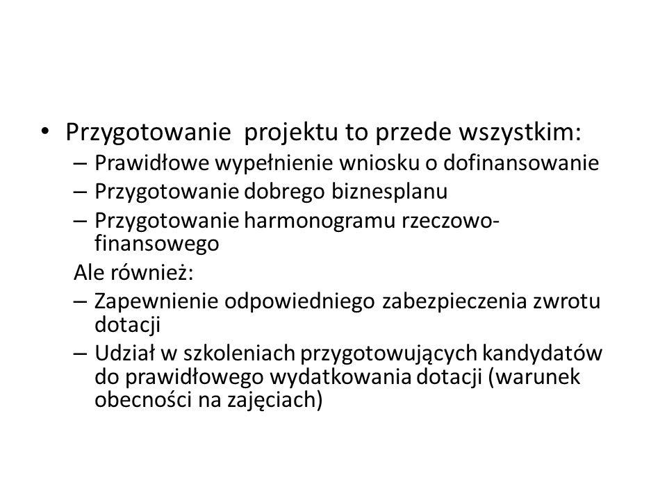 Przygotowanie projektu to przede wszystkim: – Prawidłowe wypełnienie wniosku o dofinansowanie – Przygotowanie dobrego biznesplanu – Przygotowanie harm