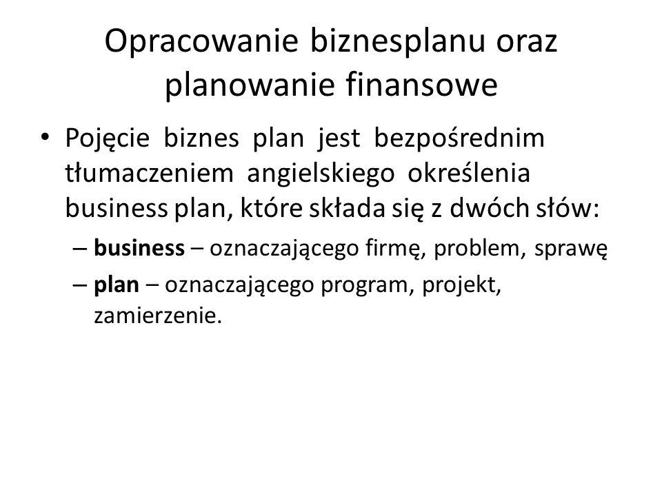 Opracowanie biznesplanu oraz planowanie finansowe Pojęcie biznes plan jest bezpośrednim tłumaczeniem angielskiego określenia business plan, które skła