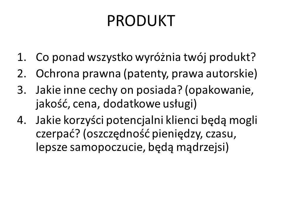 PRODUKT 1.Co ponad wszystko wyróżnia twój produkt? 2.Ochrona prawna (patenty, prawa autorskie) 3.Jakie inne cechy on posiada? (opakowanie, jakość, cen