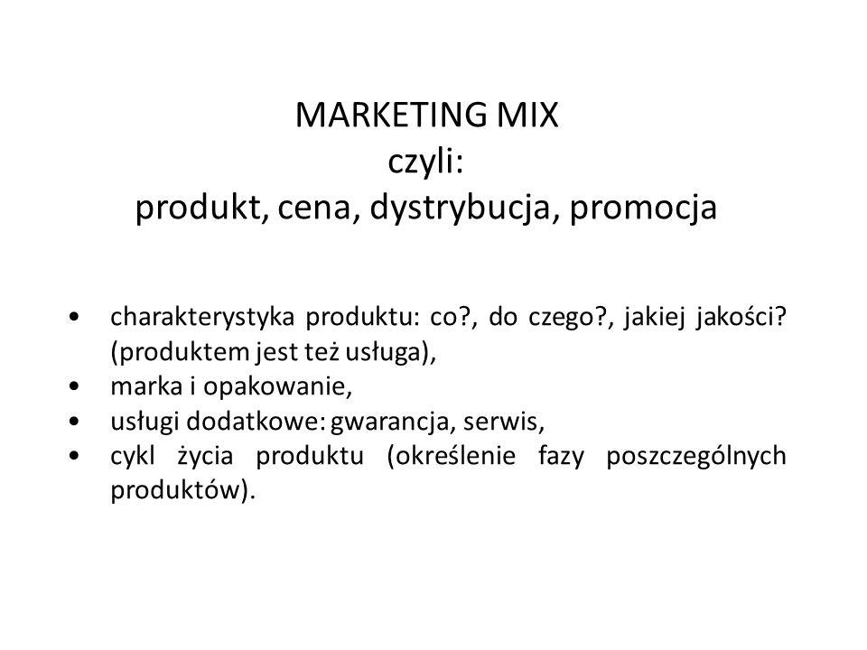 MARKETING MIX czyli: produkt, cena, dystrybucja, promocja charakterystyka produktu: co?, do czego?, jakiej jakości? (produktem jest też usługa), marka