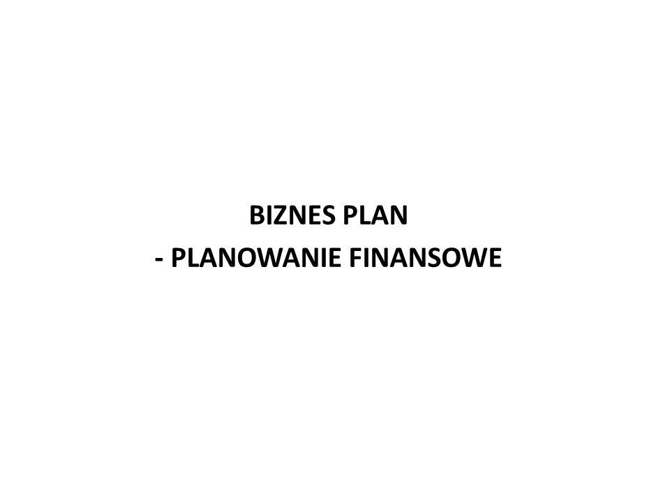 BIZNES PLAN - PLANOWANIE FINANSOWE
