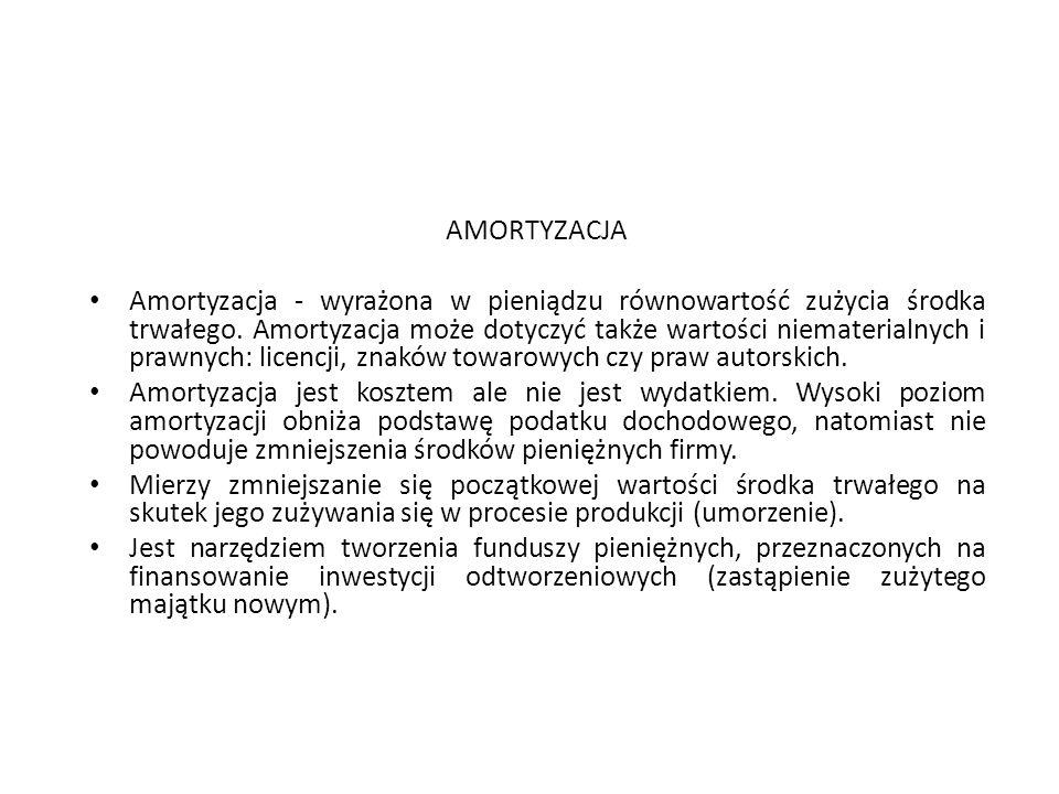 AMORTYZACJA Amortyzacja - wyrażona w pieniądzu równowartość zużycia środka trwałego. Amortyzacja może dotyczyć także wartości niematerialnych i prawny