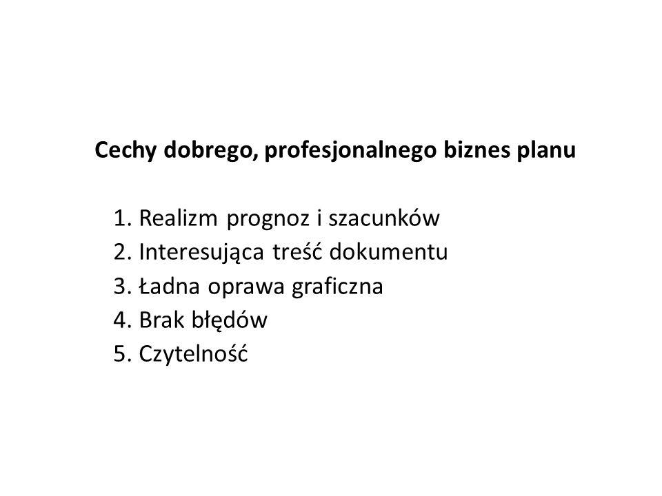 Cechy dobrego, profesjonalnego biznes planu 1. Realizm prognoz i szacunków 2. Interesująca treść dokumentu 3. Ładna oprawa graficzna 4. Brak błędów 5.