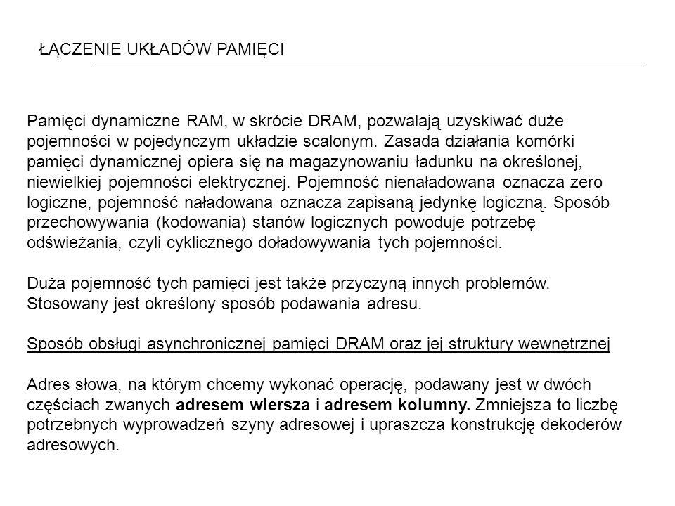 ŁĄCZENIE UKŁADÓW PAMIĘCI Pamięci dynamiczne RAM, w skrócie DRAM, pozwalają uzyskiwać duże pojemności w pojedynczym układzie scalonym. Zasada działania