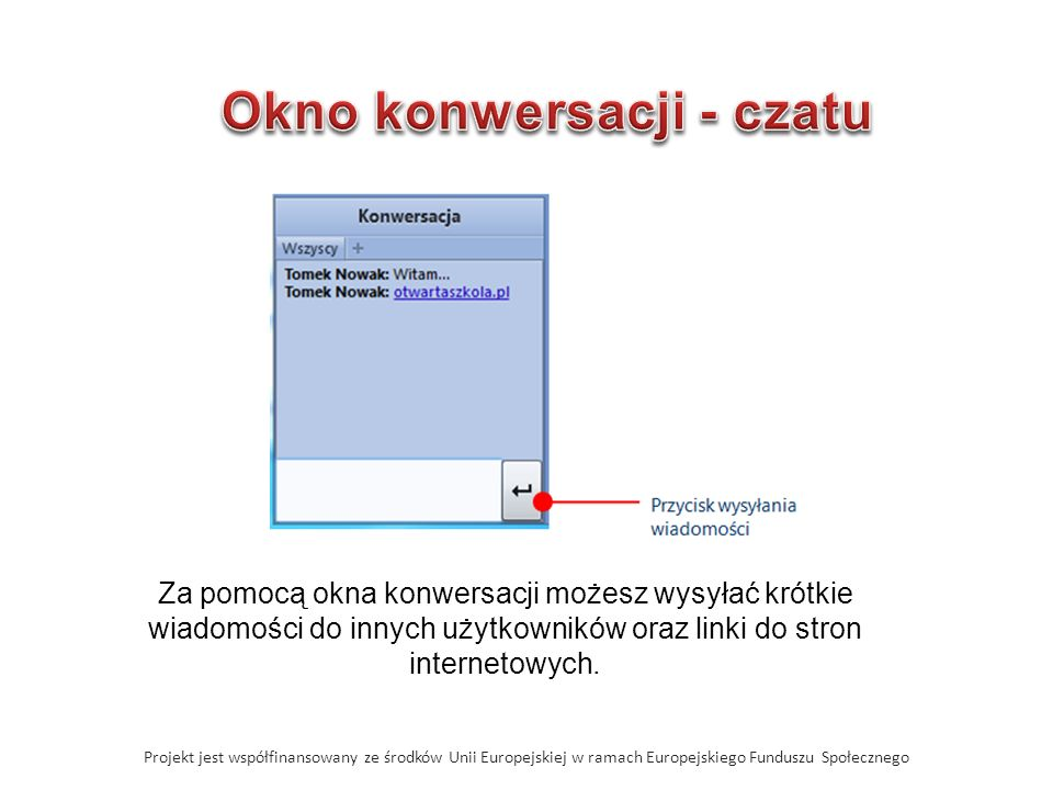 Projekt jest współfinansowany ze środków Unii Europejskiej w ramach Europejskiego Funduszu Społecznego Za pomocą okna konwersacji możesz wysyłać krótk