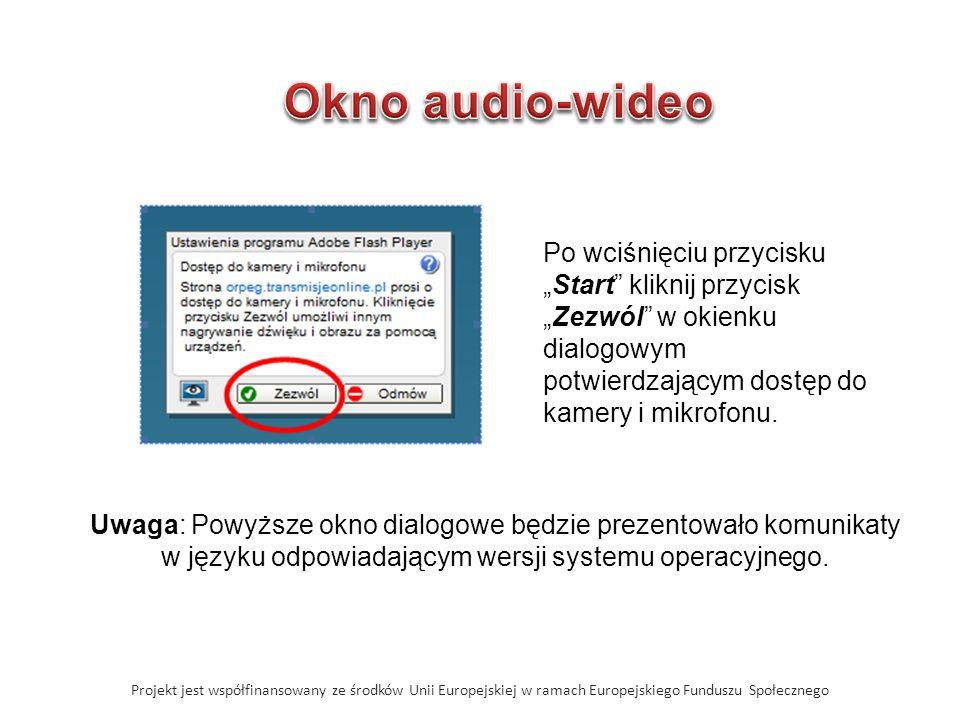 Projekt jest współfinansowany ze środków Unii Europejskiej w ramach Europejskiego Funduszu Społecznego Po wciśnięciu przyciskuStart kliknij przyciskZezwól w okienku dialogowym potwierdzającym dostęp do kamery i mikrofonu.