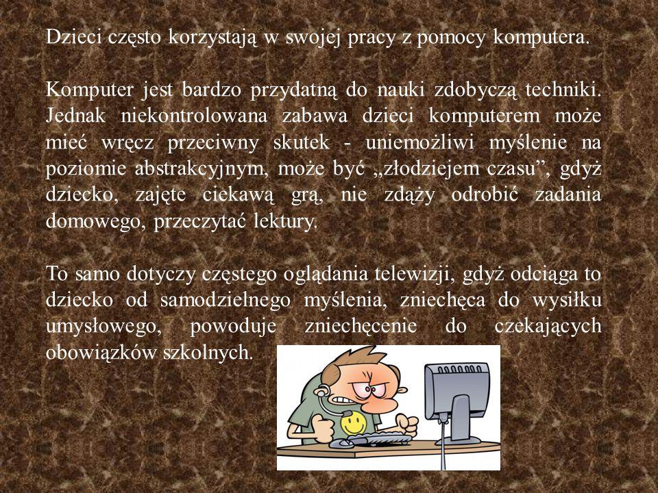 Dzieci często korzystają w swojej pracy z pomocy komputera.
