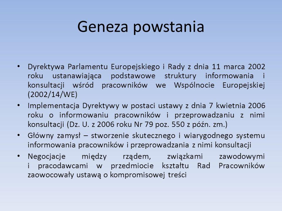 Geneza powstania Dyrektywa Parlamentu Europejskiego i Rady z dnia 11 marca 2002 roku ustanawiająca podstawowe struktury informowania i konsultacji wśr
