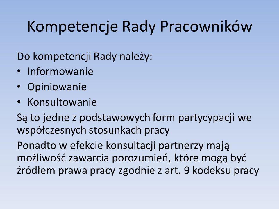 Kompetencje Rady Pracowników Do kompetencji Rady należy: Informowanie Opiniowanie Konsultowanie Są to jedne z podstawowych form partycypacji we współc