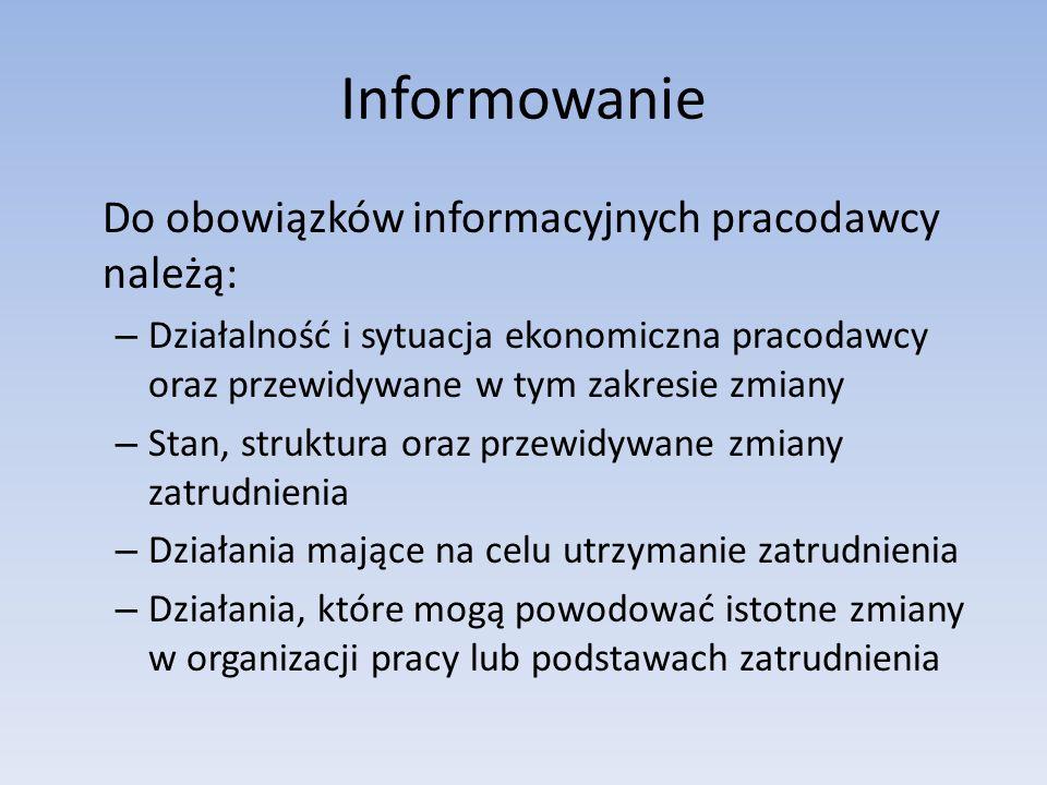 Informowanie Do obowiązków informacyjnych pracodawcy należą: – Działalność i sytuacja ekonomiczna pracodawcy oraz przewidywane w tym zakresie zmiany –