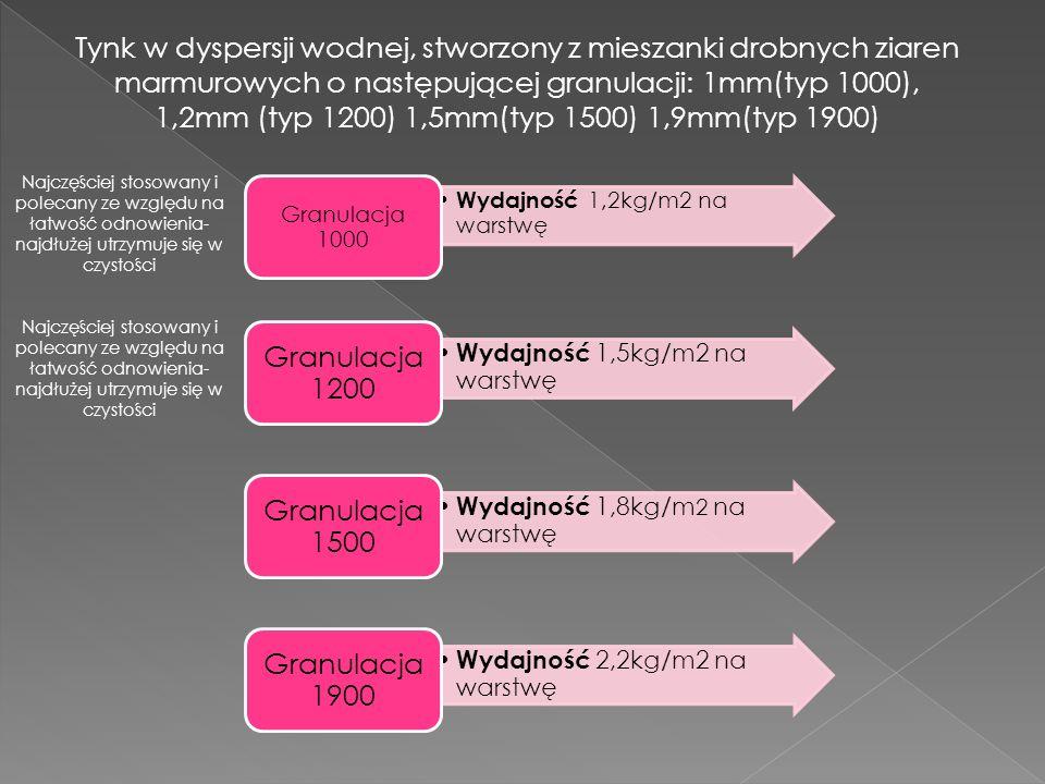 Wydajność 1,2kg/m2 na warstwę Granulacja 1000 Wydajność 1,5kg/m2 na warstwę Granulacja 1200 Wydajność 1,8kg/m 2 na warstwę Granulacja 1500 Wydajność 2