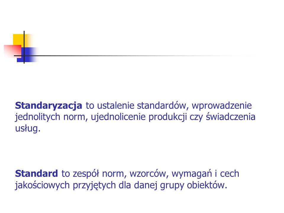 Standaryzacja to ustalenie standardów, wprowadzenie jednolitych norm, ujednolicenie produkcji czy świadczenia usług. Standard to zespół norm, wzorców,