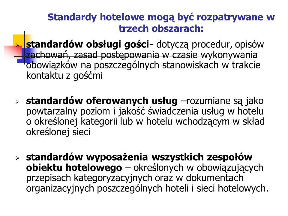 Standardy hotelowe mogą być rozpatrywane w trzech obszarach: standardów obsługi gości- dotyczą procedur, opisów zachowań, zasad postępowania w czasie