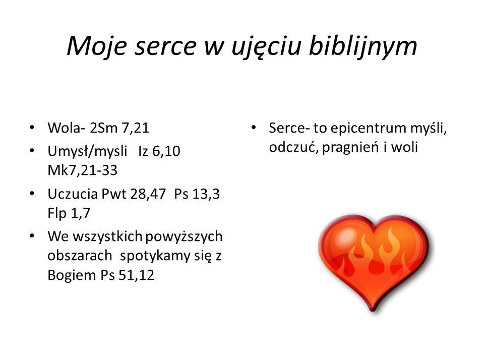 Moje serce w ujęciu biblijnym Wola- 2Sm 7,21 Umysł/mysli Iz 6,10 Mk7,21-33 Uczucia Pwt 28,47 Ps 13,3 Flp 1,7 We wszystkich powyższych obszarach spotyk