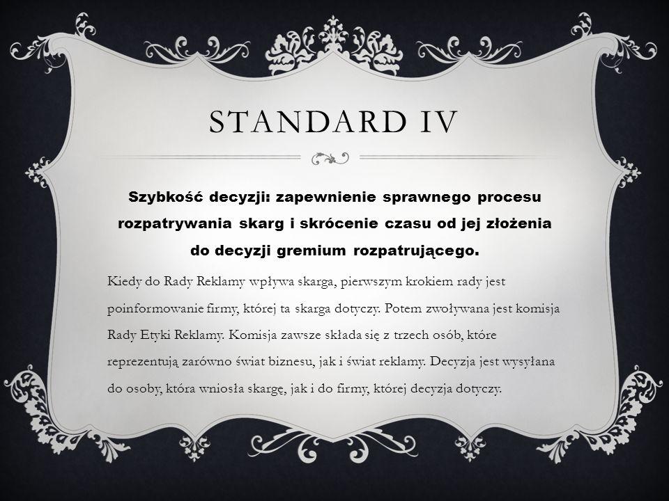 STANDARD IV Szybkość decyzji: zapewnienie sprawnego procesu rozpatrywania skarg i skrócenie czasu od jej złożenia do decyzji gremium rozpatrującego. K