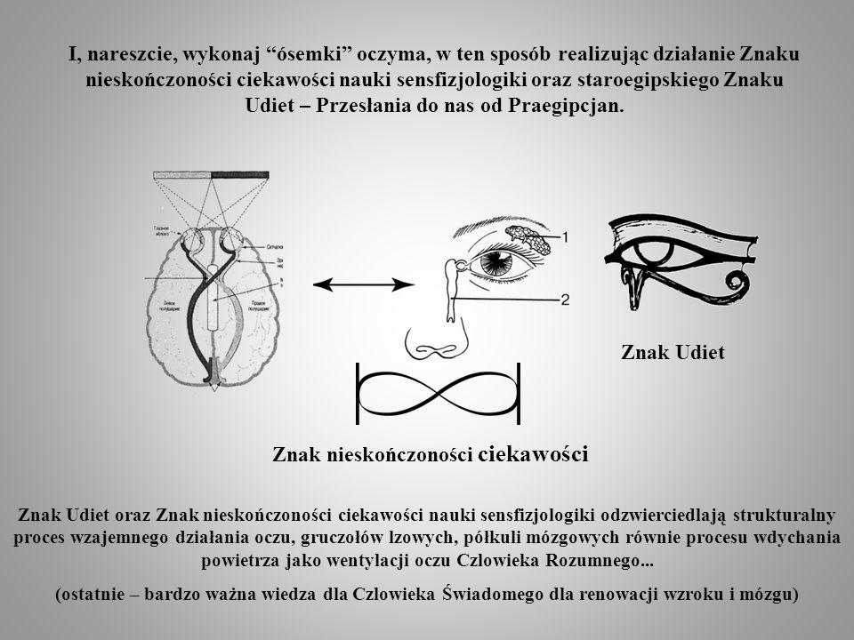 І, nareszcie, wykonaj ósemki oczyma, w ten sposób realizując działanie Znaku nieskończoności ciekawości nauki sensfizjologiki oraz staroegipskiego Znaku Udiet – Przesłania do nas od Praegipcjan.