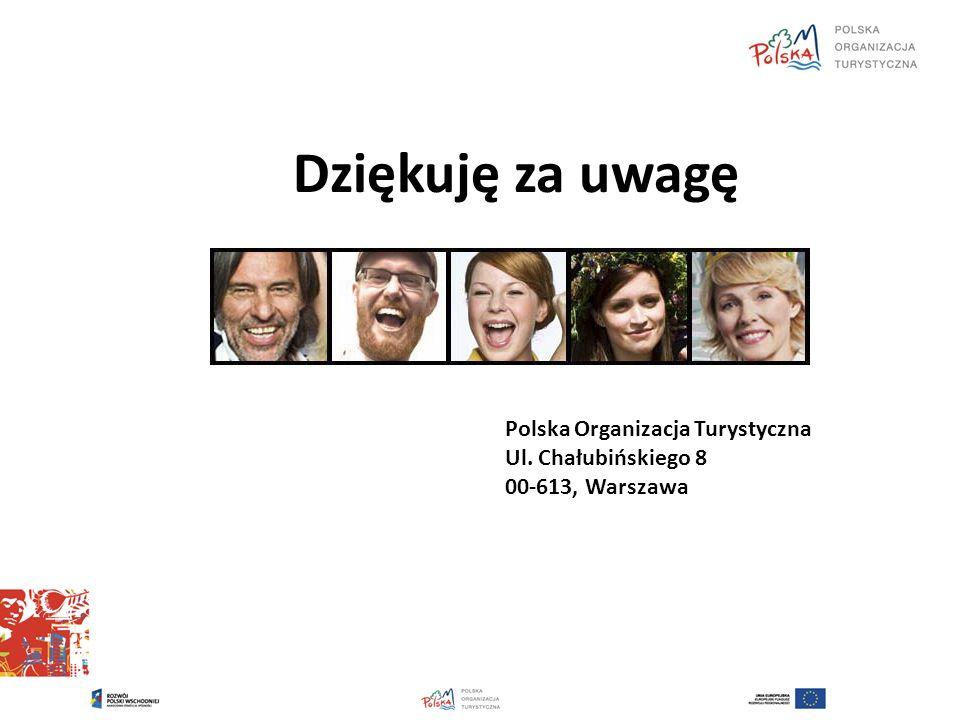 Dziękuję za uwagę Polska Organizacja Turystyczna Ul. Chałubińskiego 8 00-613, Warszawa