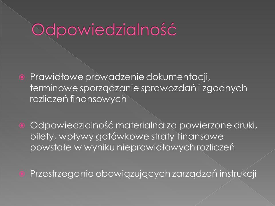 Prawidłowe prowadzenie dokumentacji, terminowe sporządzanie sprawozdań i zgodnych rozliczeń finansowych Odpowiedzialność materialna za powierzone druk