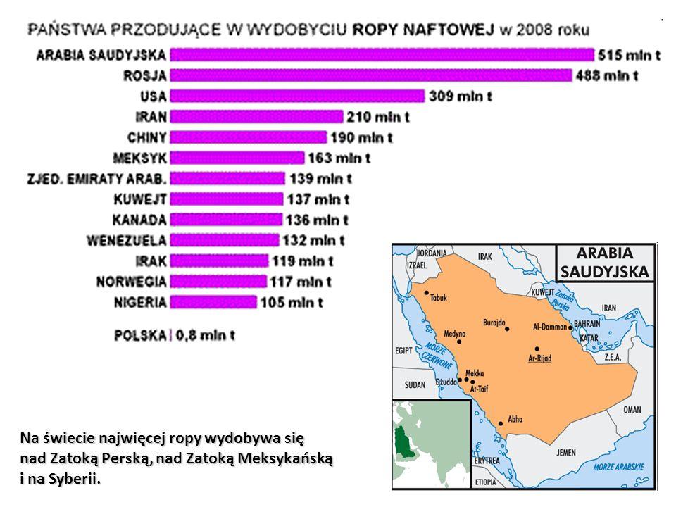 Na świecie najwięcej ropy wydobywa się nad Zatoką Perską, nad Zatoką Meksykańską i na Syberii.
