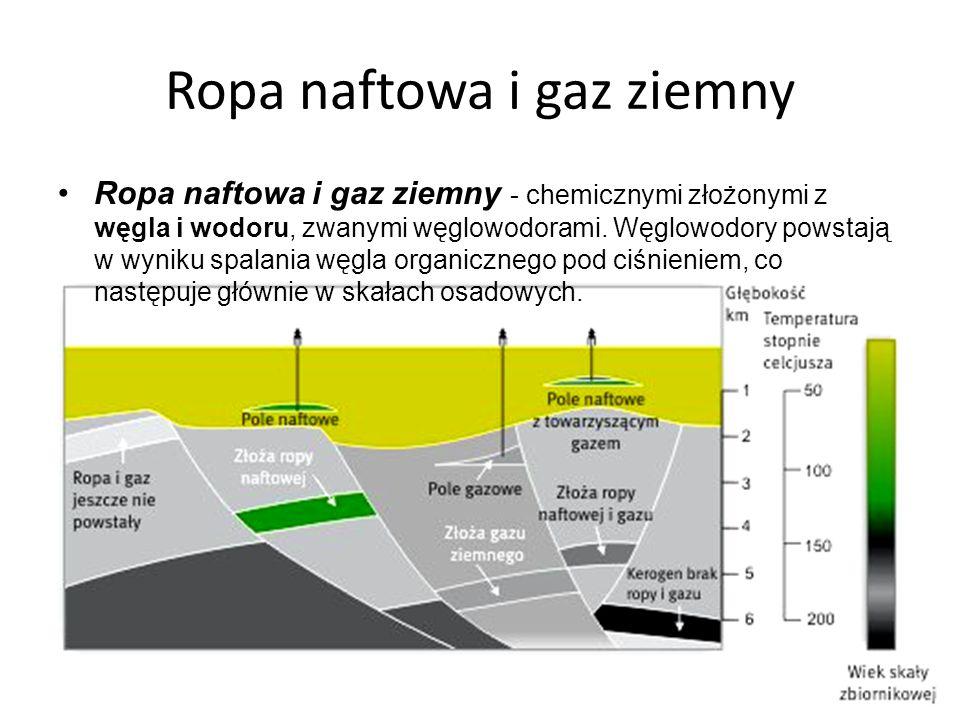 Ropa naftowa i gaz ziemny Ropa naftowa i gaz ziemny - chemicznymi złożonymi z węgla i wodoru, zwanymi węglowodorami. Węglowodory powstają w wyniku spa
