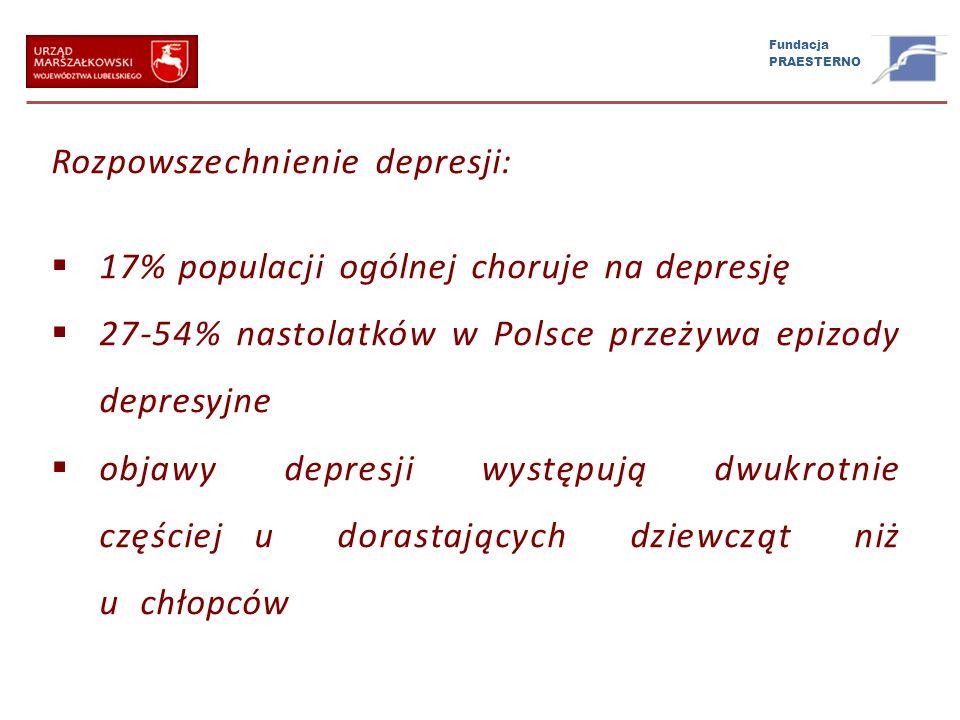 Fundacja PRAESTERNO Rozpowszechnienie depresji: 17% populacji ogólnej choruje na depresję 27-54% nastolatków w Polsce przeżywa epizody depresyjne obja