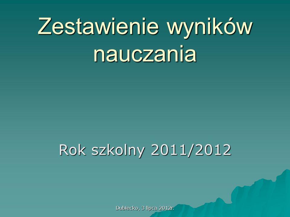 Dubiecko, 3 lipca 2012r. Zestawienie wyników nauczania Rok szkolny 2011/2012