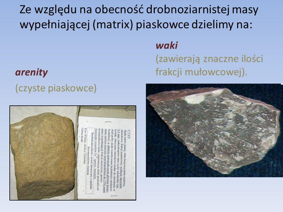 Ze względu na obecność drobnoziarnistej masy wypełniającej (matrix) piaskowce dzielimy na: arenity (czyste piaskowce) waki (zawierają znaczne ilości frakcji mułowcowej).