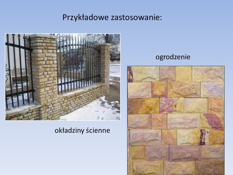 Przykładowe zastosowanie: ogrodzenie okładziny ścienne