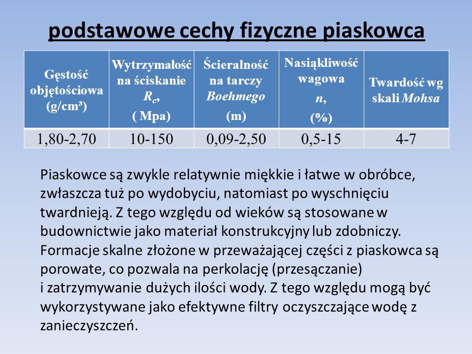 podstawowe cechy fizyczne piaskowca Gęstość objętościowa (g/cm³) Wytrzymałość na ściskanie R c, ( Mpa) Ścieralność na tarczy Boehmego (m) Nasiąkliwość wagowa n, (%) Twardość wg skali Mohsa 1,80-2,7010-1500,09-2,500,5-154-7 Piaskowce są zwykle relatywnie miękkie i łatwe w obróbce, zwłaszcza tuż po wydobyciu, natomiast po wyschnięciu twardnieją.