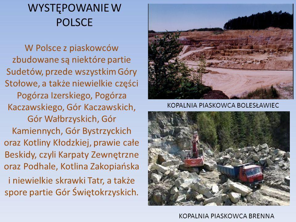WYSTĘPOWANIE W POLSCE W Polsce z piaskowców zbudowane są niektóre partie Sudetów, przede wszystkim Góry Stołowe, a także niewielkie części Pogórza Izerskiego, Pogórza Kaczawskiego, Gór Kaczawskich, Gór Wałbrzyskich, Gór Kamiennych, Gór Bystrzyckich oraz Kotliny Kłodzkiej, prawie całe Beskidy, czyli Karpaty Zewnętrzne oraz Podhale, Kotlina Zakopiańska i niewielkie skrawki Tatr, a także spore partie Gór Świętokrzyskich.