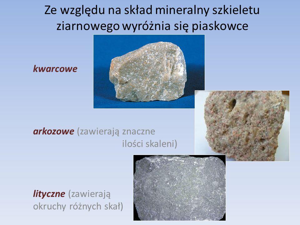 Ze względu na skład mineralny szkieletu ziarnowego wyróżnia się piaskowce kwarcowe arkozowe (zawierają znaczne ilości skaleni) lityczne (zawierają okruchy różnych skał)