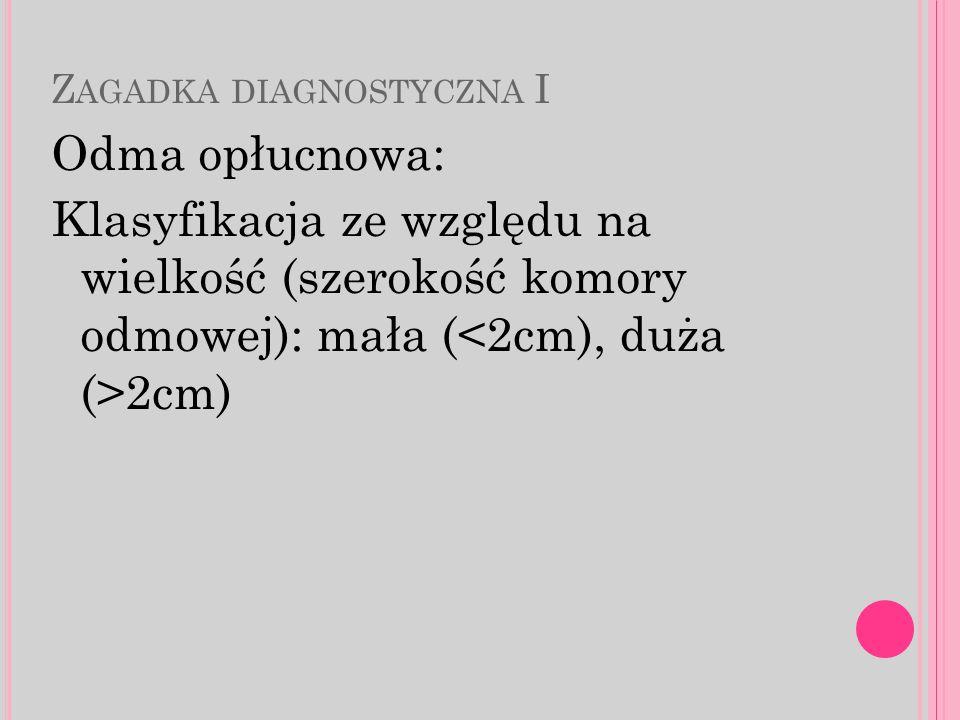 Z AGADKA DIAGNOSTYCZNA I Odma opłucnowa: Klasyfikacja ze względu na wielkość (szerokość komory odmowej): mała ( 2cm)