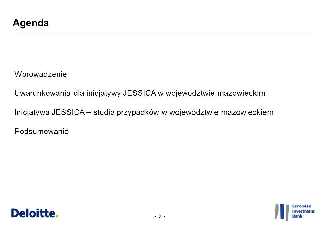 -- Wybór miast (target cities) w celu identyfikacji i analizy potencjalnych inwestycji JESSICA (1/2) 13 W pierwszym etapie wyboru miast (target cities) wysłaliśmy do każdej stolicy powiatu województwa mazowieckiego (38) kwestionariusz dotyczący miejskich projektów dot.
