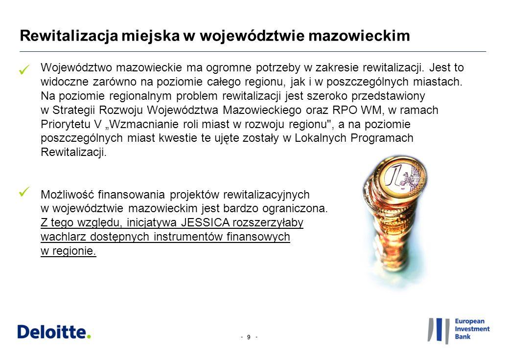 -- 20 Województwo mazowieckie posiada ogromne potrzeby w zakresie rewitalizacji (w ramach analizy potencjału 7 miast zidentyfikowano 33 projekty o łącznej wartości przekraczającej 800 mln PLN).