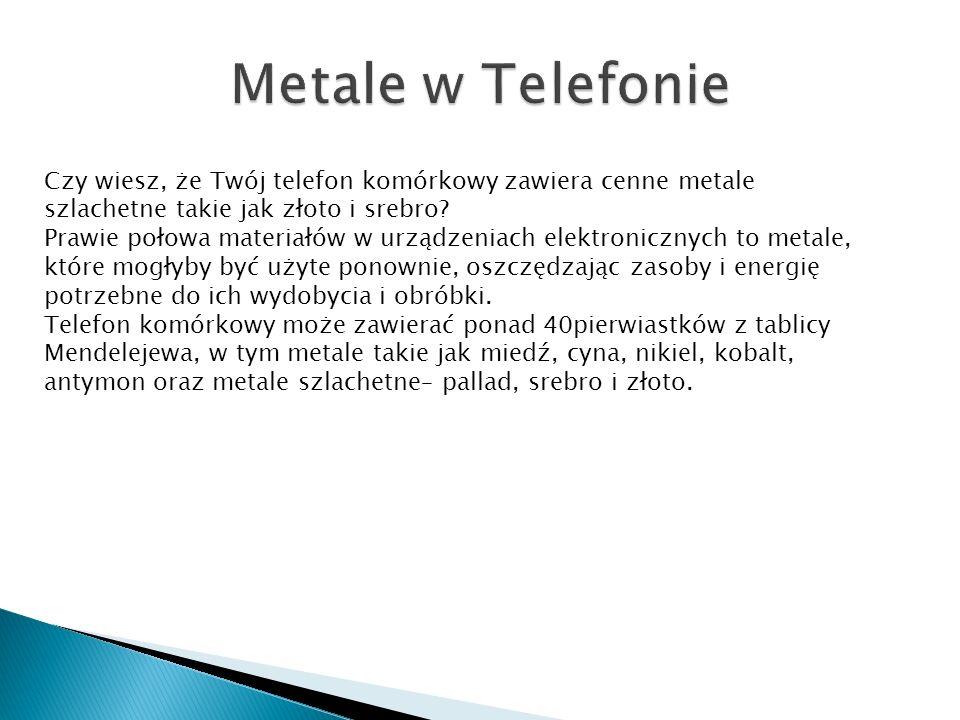 Czy wiesz, że Twój telefon komórkowy zawiera cenne metale szlachetne takie jak złoto i srebro.