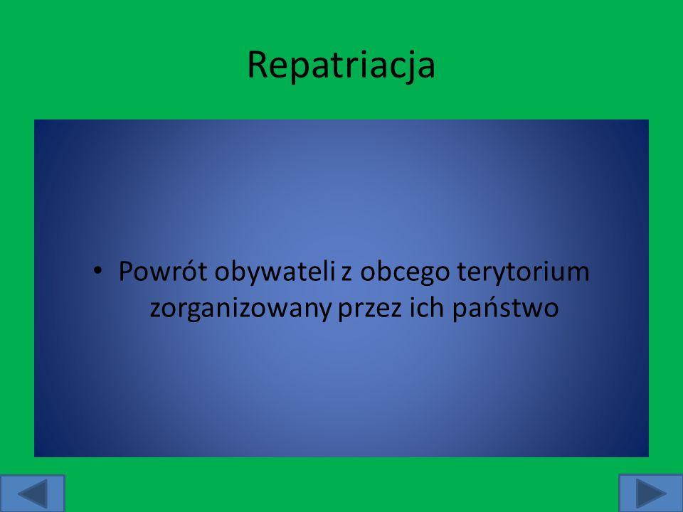 Repatriacja Powrót obywateli z obcego terytorium zorganizowany przez ich państwo