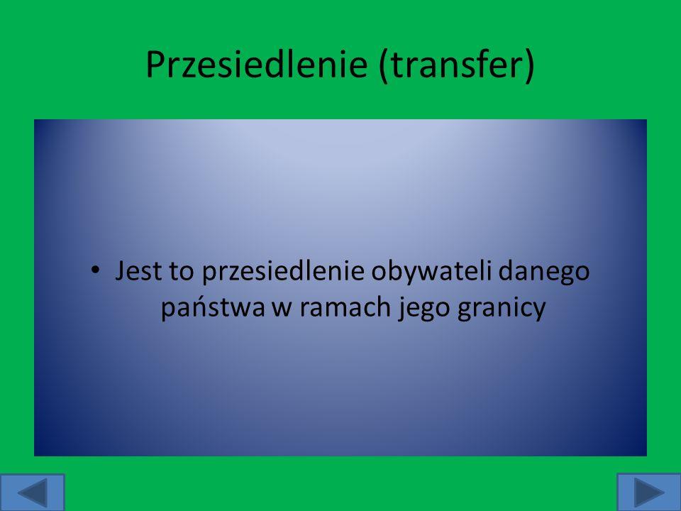 Przesiedlenie (transfer) Jest to przesiedlenie obywateli danego państwa w ramach jego granicy