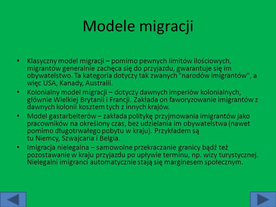 Modele migracji Klasyczny model migracji – pomimo pewnych limitów ilościowych, migrantów generalnie zachęca się do przyjazdu, gwarantuje się im obywat