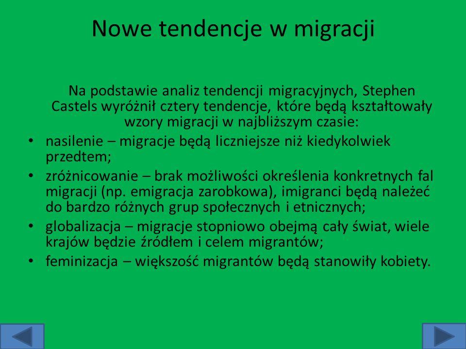 Nowe tendencje w migracji Na podstawie analiz tendencji migracyjnych, Stephen Castels wyróżnił cztery tendencje, które będą kształtowały wzory migracj