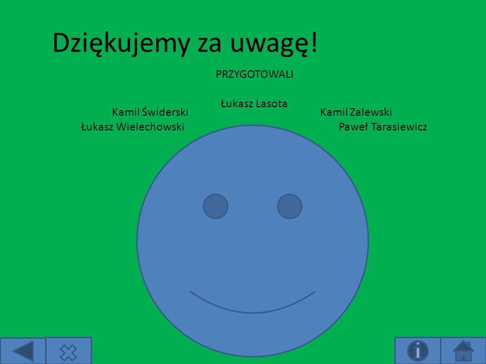 Dziękujemy za uwagę! PRZYGOTOWALI Łukasz Lasota Kamil Świderski Łukasz Wielechowski Kamil Zalewski Paweł Tarasiewicz