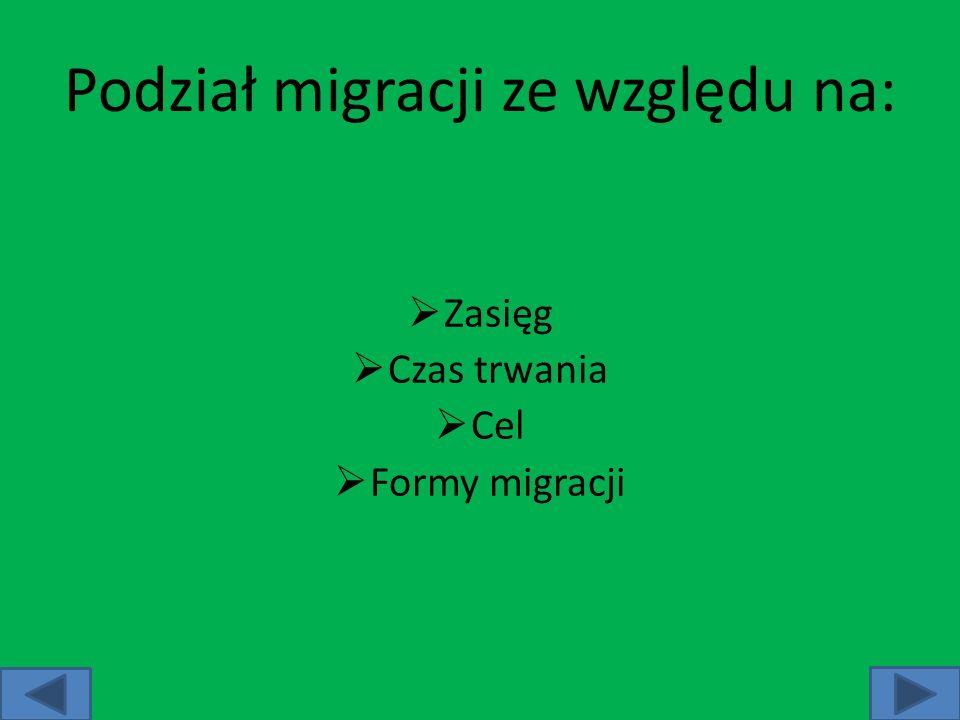 Migracja ze względu na zasięg: migracje wewnętrzne – przemieszczanie się ludności w granicach danej jednostki administracyjnej (miasto, gmina, województwo, itp.) lub politycznej (państwo) migracje zewnętrzne – przemieszczanie się ludności z jednej jednostki administracyjnej lub politycznej do innej