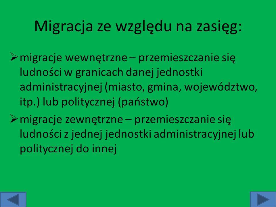 Migracja ze względu na zasięg: migracje wewnętrzne – przemieszczanie się ludności w granicach danej jednostki administracyjnej (miasto, gmina, wojewód