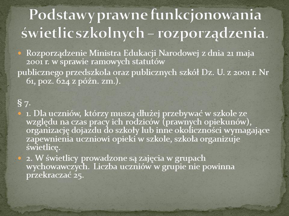 Rozporządzenie Ministra Edukacji Narodowej z dnia 21 maja 2001 r. w sprawie ramowych statutów publicznego przedszkola oraz publicznych szkół Dz. U. z